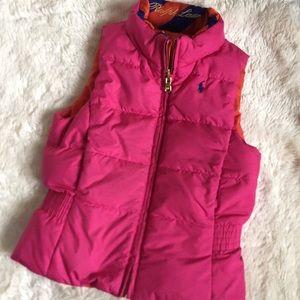 Ralph Lauren girl 5t pink reversible down vest